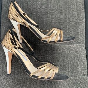 Brian Atwood Black and Bronze T Strap suede heels